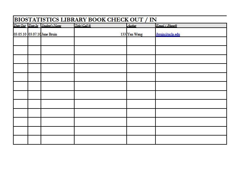 library checkout form